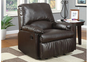 Brown Vinyl Glider Recliner
