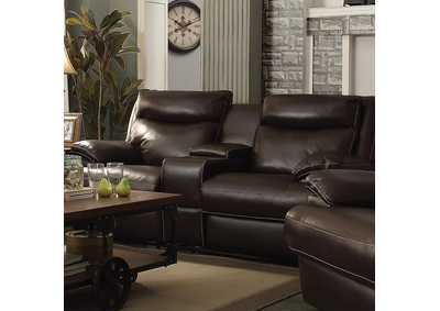 Brown Power Reclining Loveseat With Console