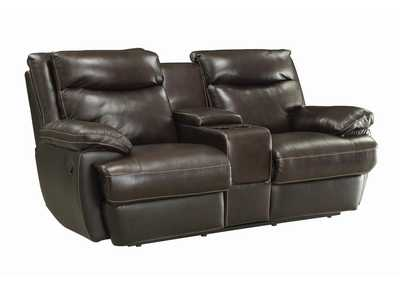 Image for Armadillo MacPherson Brown Leather Reclining Loveseat