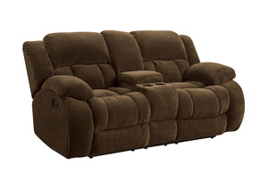 Brown Reclining Console Loveseat