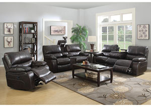 Chocolate Reclining Sofa & Console Loveseat