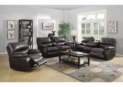 Willemse Chocolate Reclining Sofa w/Drop Down Table