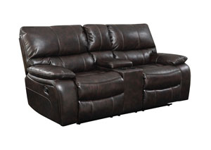 Chocolate Reclining Console Loveseat