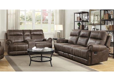 Buckskin Brown Reclining Sofa w/Dropdown Table
