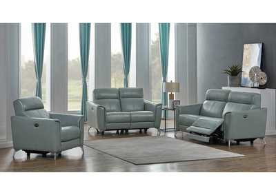 Alberta Seafoam Power Sofa, Recliner & Loveseat