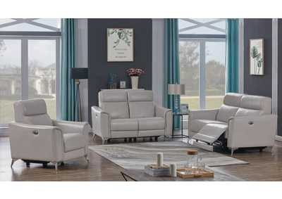 Alberta Light Grey Power Sofa, Recliner & Loveseat