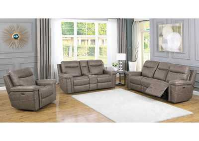 Wixom Taupe Power Sofa, Recliner & Loveseat