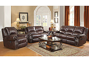 Tobacco Motion Sofa, Loveseat & Recliner