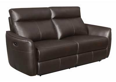 Dark Brown Power Reclining Leather Sofa