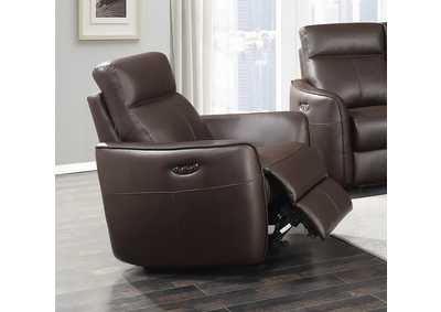 Dark Brown Power Glider Leather Recliner