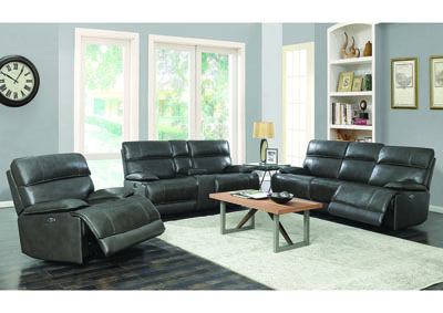 Stanford Charcoal Leather Power Reclining Sofa