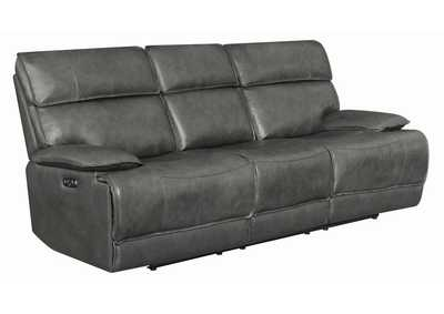 Stanford Charcoal Leather Power2 Reclining Sofa w/Power Headrest