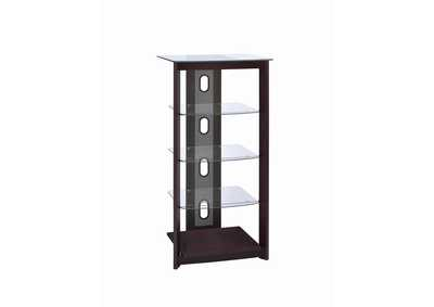 Dark Brown Media Tower w/Glass Shelves
