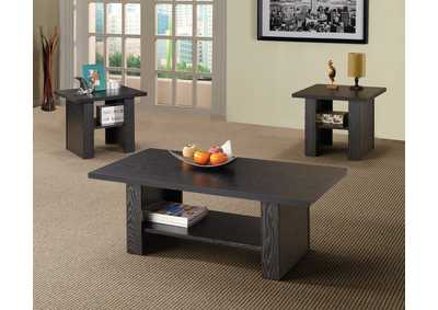 Black Oak Contemporary Three-Piece Occasional Table Set