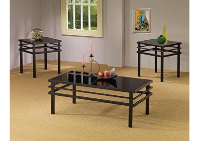 Black Tempered Glass Three-Piece Occasional Table Set