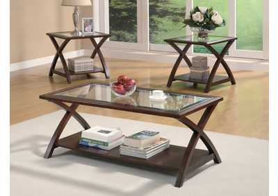Cappuccino Transitional Three-Piece Occasional Table Set