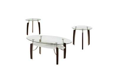 Mercury Occasional Table Sets Contemporary Cappuccino Round Three-Piece Set