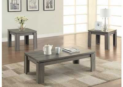 Distressed Grey Three-Piece Occasional Table Set