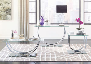 U Shaped Chrome Sofa Table w/Glass Top