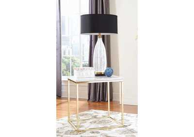 White/Brushed Brass End Table