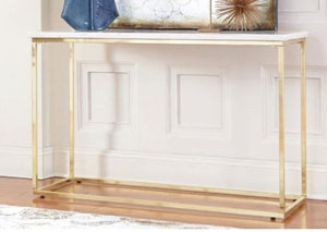 White/Brushed Brass Sofa Table