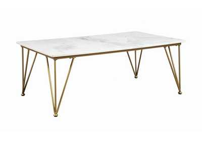 Image for White Marble Top Coffee Table