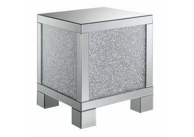 Silver Encrusted Crystal End Table
