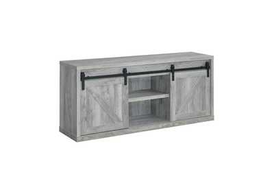 Grey Driftwood 59in 3 Shelf TV Console