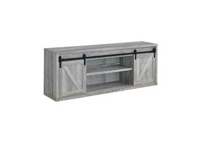 Grey Driftwood 71in 3 Shelf TV Console