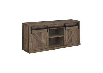 Rustic Oak 59in 3 Shelf TV Console