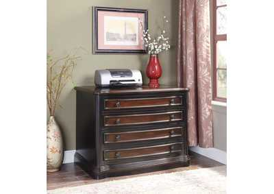 Black/ Cherry File Cabinet