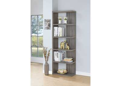Weathered Grey Five-Shelf Bookcase