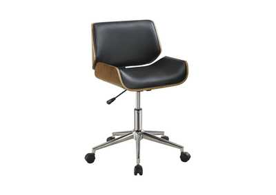 Image for Walnut Modern Black Office Chair