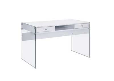 Image for White High Gloss Contemporary Glossy White Writing Desk