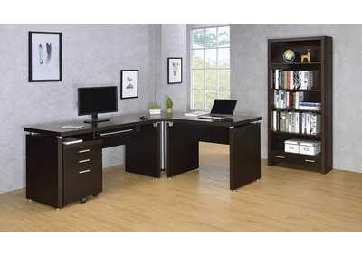 Image for Cappuccino Skylar Contemporary Three-Drawer File Cabinet