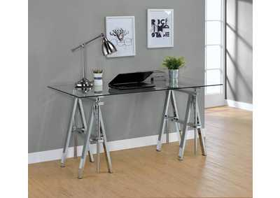 Glass Top Adjustable Writing Desk