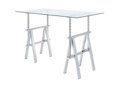Image for Porcelain Casual Silver Glass Top Adjustable Writing Desk