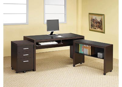 Skylar Cappuccino Three-Drawer Mobile File Cabinet