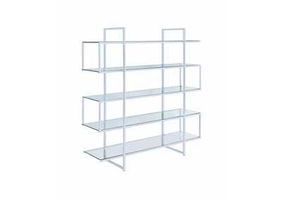 Image for Geyser Contemporary Silver Metal and Glass Bookcase