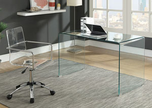 Clear Glass Writing Desk w/Office Chair