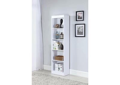 White 5 Shelf Narrow Bookcase