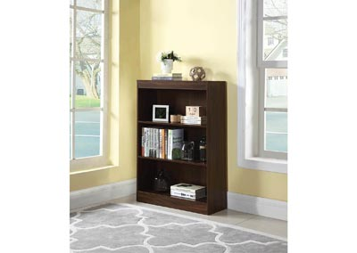 Dark Walnut 3 Shelf Bookcase