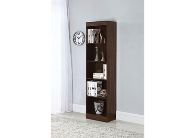 Dark Walnut 5 Shelf Narrow Bookcase