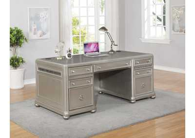 Ritzville Metallic Champagne Executive Desk