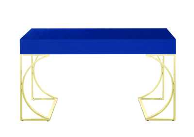 Glossy Blue/Gold Writing Desk