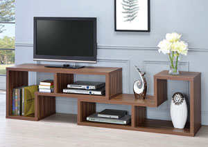 Image for Walnut Contemporary Walnut Convertible TV Stand and Bookcase