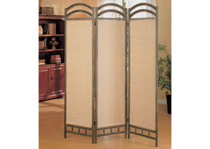 Tan Transitional Graphite Three-Panel Screen