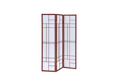 Brown Red Three-Panel Screen
