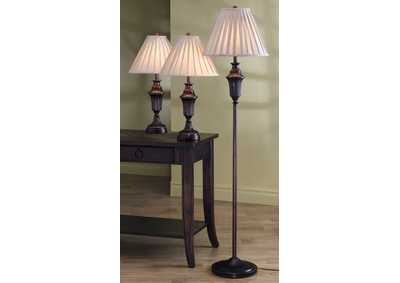 Bronze 3 Piece Floor and Table Lamp Set