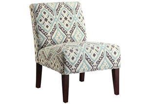 Beige/Turquoise Accent Chair